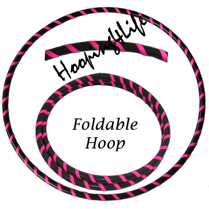 Hooping4Life Foldable Black & Fluorescent Pink Travel weighted exercise & dance Hula Hoop
