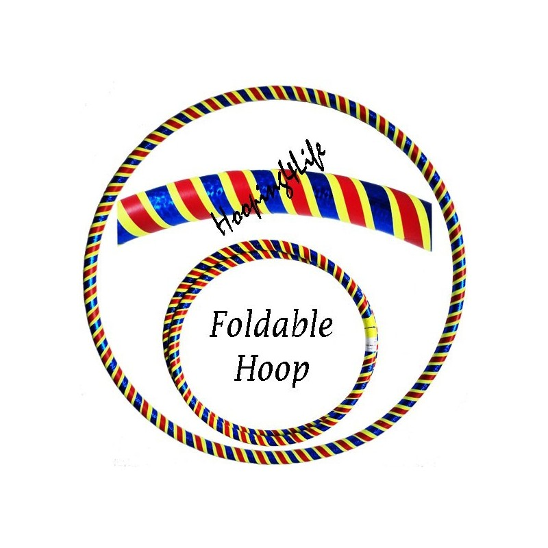Hooping4Life Foldable Holographic Blue, Fluorescent Yellow & Red Travel weighted exercise & dance Hula Hoop