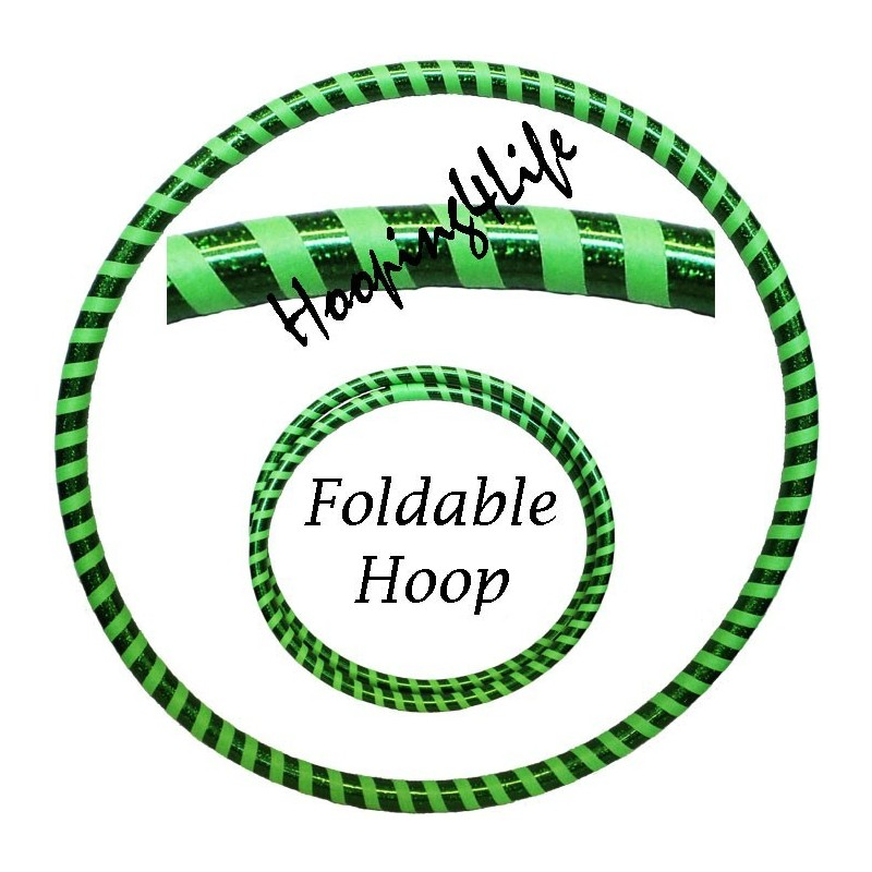 Hooping4Life Foldable Holographic Green & Fluorescent Green Travel weighted exercise & dance Hula Hoop