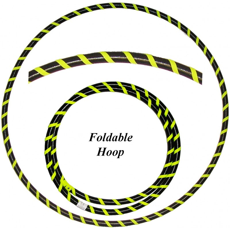 Hooping4Life Foldable Black & Fluorescent Yellow Travel weighted exercise & dance Hula Hoop